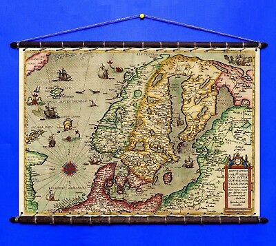 Antique Old Rare Map of The World 1543 Cotton Canvas with Vintage Wooden Hangers