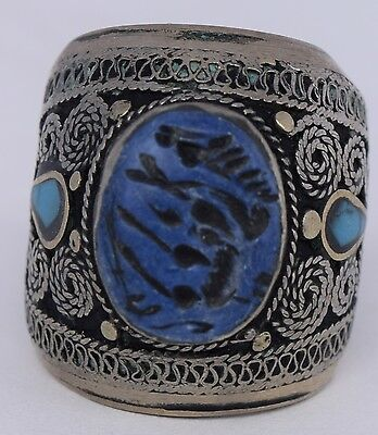 Afghan Turkman carved Lapis Turquoise inlay VTG Tribal Statement seal Ring HUGE