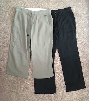 Two Pairs of Smart Linen Trousers, Size 8, Excellent Condition