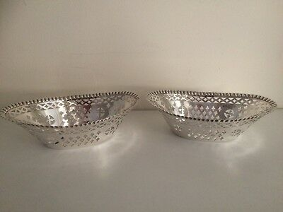 Pair of Antique Mappin & Webb Sterling Silver Bon Bon Dishes - Sheffield 1897