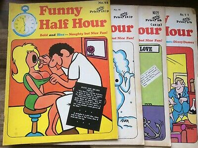 Funny Half Hour Early 70s Adult Comics X 4 Collectible Magazines