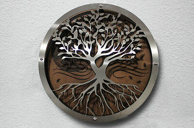 Custom Laser Etched Home Decor Stainless Steel + Masonite 3D Art Tree of Life