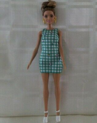 Barbie fashionista doll # 50 green check dress hairbun