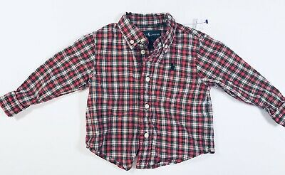 RALPH LAUREN Red White Plaid Button-Down Shirt Baby/Infant Boys Size 12m