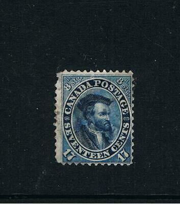 Colony of Canada - 1859   'Jacques Cartier'  -  17c  Blue (Shade Unknown) Used