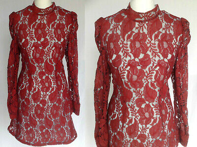 Vintage 60s Mod Psych Romantic Victoriana Dark Red Floral Lace Mini Dress S UK 8