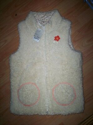 Next BNWT Girls Lined Woolly / Fluffy Body Warmer Gilet Age 12 Years - Zip Front