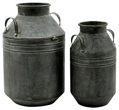 Vintage Style Milk Churn Planters Grey Metal Galvanised French Rustic Set of Two