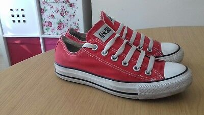 Converse All Star Lo Top Red Plimsoles Canvas Trainers Shoes Size Uk 5