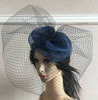 navy fascinator french veiling veil hair clip wedding widow funural hat race