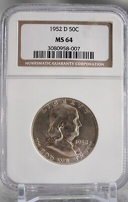 1952 D Franklin Half Dollar 50c Silver Graded By NGC MS 64