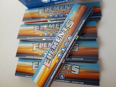 Elements King Size Slim.Ultra thin,zero ash, Rolling papers. 5, 10 or 50 packs