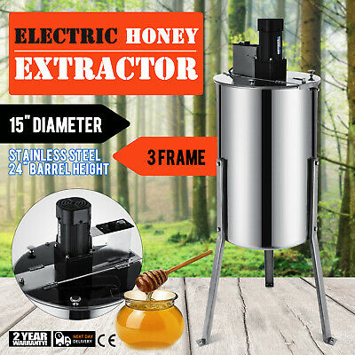 """3 Frame Electric Honey Extractor Food Grade 2"""" Outlet 24"""" Barrel Height GOOD"""