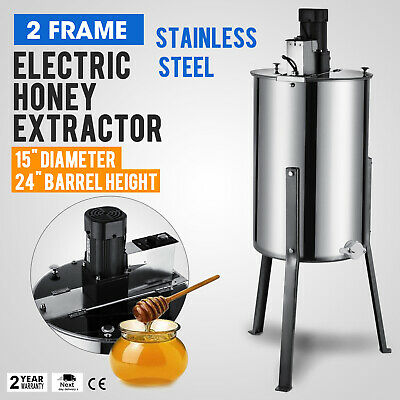 """2 Frame Electric Honey Extractor 2 Clear Lids 24"""" Barrel Height Stainless Steel"""