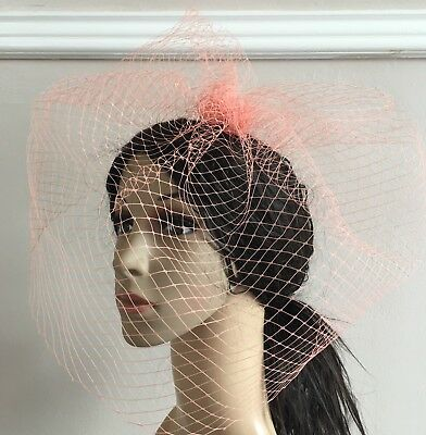 peach fascinator french veiling veil hair clip wedding widow funural hat race