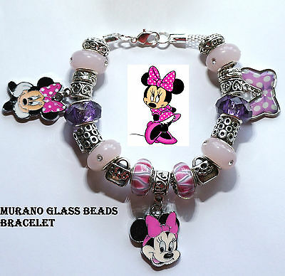 Disney Minnie Mouse Hot Pink Bow Handmade Charm Bracelet Murano Glass beads