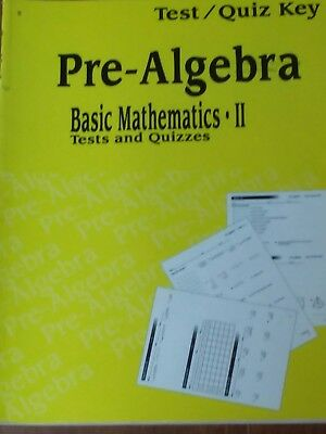 ABEKA PRE ALGEBRA Quiz Test Key Math Series Homeschool