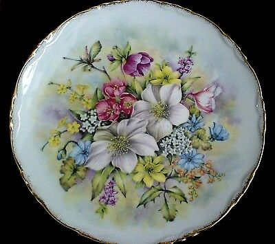 Royal Vale Flowers of the Season Winter 8 1/2 in Bone China Display Plate c1930
