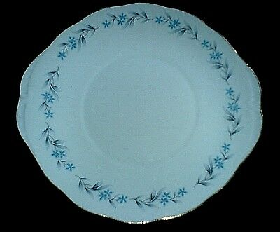 Royal Vale 8333 Small Blue Flowers/Grey Leaves 10 inch Bone China Cake Plate