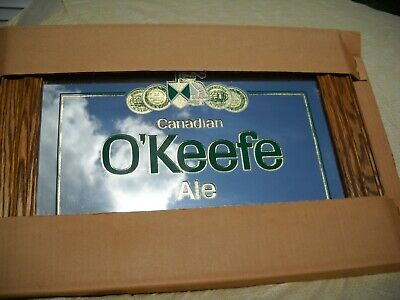 CANADIAN O'KEEFE ALE/BEER MIRROR ~SIGN W/WOOD FRAME 16x22 ~ BRAND NEW!