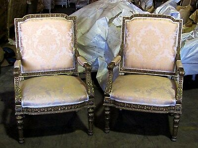 19th C. Spectacular Pair of Louis XVI Empire Gilded Chairs