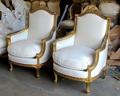 Vintage Fine Water Gilding Italian Baroque Style Bergere Chairs