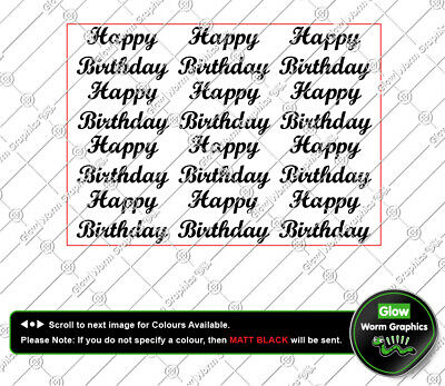x12 Happy Birthday A5 sheet, Champagne Beer Wine Glass Wall Sticker Vinyl Decal
