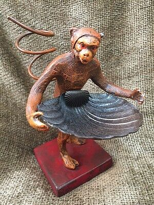 "Vintage Petites Choses Cast Iron Monkey Holding Shell Statue Figurine 5.5"" Metal"