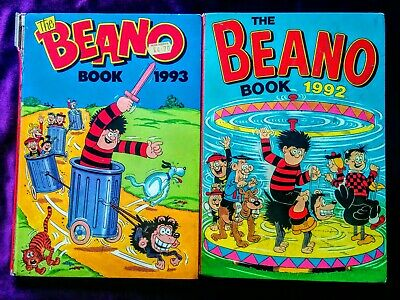Beano UK Comic Annuals 1990's, Hardback, Old, Vintage (1992, 1993)