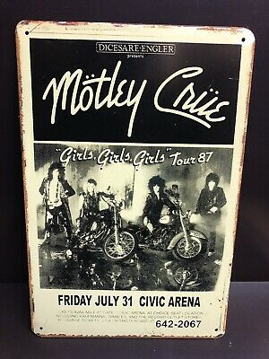 MOTLEY CRUE GIRLS TOUR 87 Concert Poster Vintage Small Metal Sign 20x30 Cm