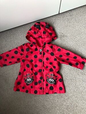 Mothercare Ladybird black/red rain coat jacket 3-6 months up to 17.5lbs/8 kgs