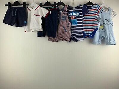 Baby Boys 3/6 Months Clothes Bundle Shorts Vest Mickey Mouse Dungaree Trousers