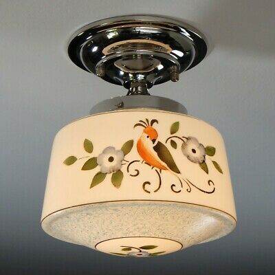 Semi-Flush Ceiling Light Fixture. Vintage Hand Painted Glass Shade New Nickel Fi