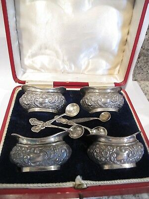 Antique Set Of Boxed 4 English Sterling Silver Salt Cellars , Birmingham 1903