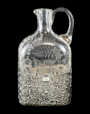 ANTIQUE MAUSER MFG CO STERLING SILVER ETCHED GLASS JUG, circa1899