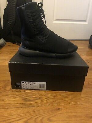 a8c461b7dba8f ADIDAS Y-3 QASA Boot Black White US Size 12 Brand New In Box With ...