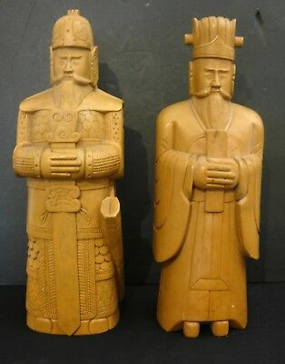 Pair of Old Chinese Carved Hardstone Figures 14+ In. Tall