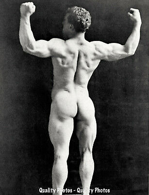 "Nude Man Eugene Sandow From Behind 8.5x11"" Photo Print, Naked Male Bodybuilder"
