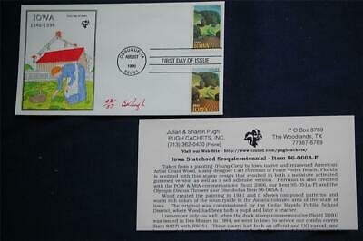 Iowa Statehood 150th Anniversary FDC Handpainted by Pugh Sc#3088-9 Issued 8/1/96