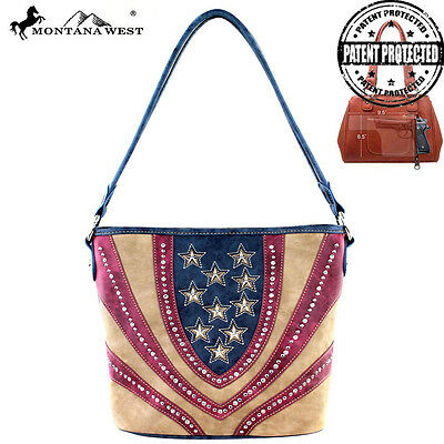 Montana West Concealed Carry American Pride Purse Tote Navy