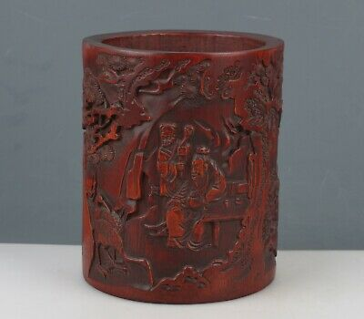 Chinese Exquisite Handmade Old man child carving bamboo Brush Pot