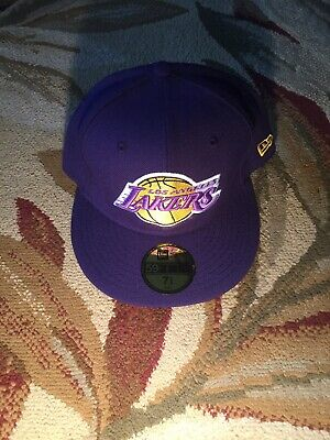 finest selection f2ed4 a9ee9 Los Angeles Lakers NBA Fitted Hat Cap New Era 59Fifty Purple 7 5 8 60.6