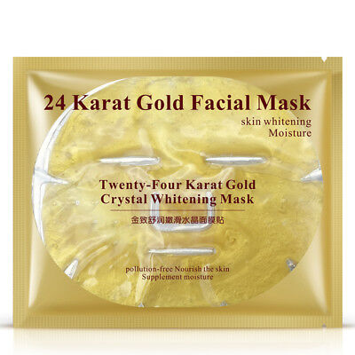 Premium Collagen Crystal Face Masks Anti Ageing Skin Care Gold White  x10 pieces