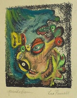 Leo Russell MONSTERS  ABSTRACT PAINTING MID CENTURY MODERN Listed NY MOMA 1947