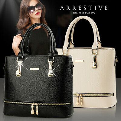 Women Lady Leather Handbag Tote Elegant Zipper Crossbody Messenger Bag Satchel