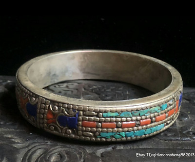 8cm collect China Old Tibetan silver Handmade inlay gem Bracelet jewelry TQA