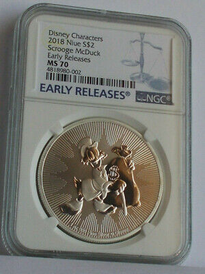 2018 Niue Scrooge Mcduck 1 Oz. Silver $2 Dollar Ms70 Ngc Early Releases