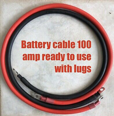 20CM Battery Connector Lead Dc 12v Wire 100 Amp Cable & 10 mm lugs,red & black