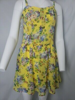 3da38073d230 Tulle Anthropologie Sleeveless Sz Small Lined Yellow Dress Floral Pretty  Easter