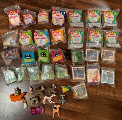 Mcdonalds Burger King Toy Lot of 41 1991 Batman Aladdin Marvel Dalmatians